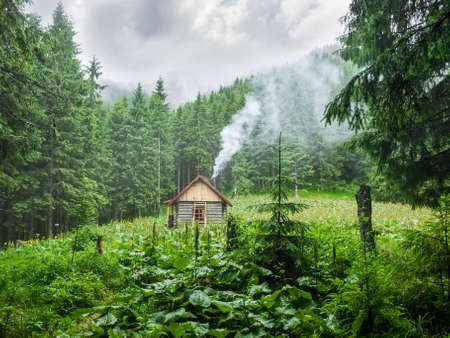 inclement: Small wooden mountain shelter in a small clearing in the forest during inclement weather. Carpathians