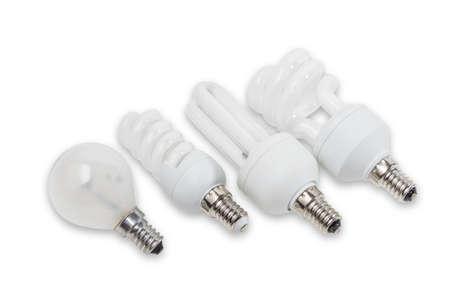 contemporaneous: Diverse lampade elettriche con fiaschi di diverse forme e disegni differenti su uno sfondo chiaro. Isolamento. Archivio Fotografico