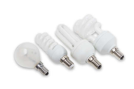thrifty: Several electric lamps with flasks of different shapes and different designs on a light background. Isolation.