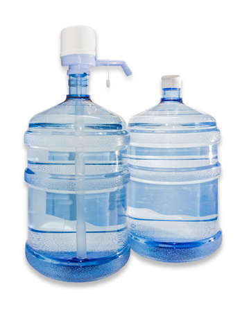 purified water: Two large plastic transparent carboys, capacity 5 gallons (19 liter), with drinking water. On one of the bottles set a hand pump with dispenser. Isolation on a light background.