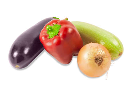 vegetable marrow: Fresh red bell pepper, vegetable marrow, eggplant and onion on a light background. Isolation. Stock Photo