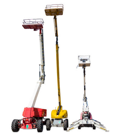 Three various mobile aerial work platform - self propelled hydraulic articulated boom lift on light background. Isolation. Standard-Bild