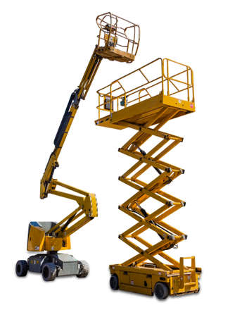Two types of mobile aerial work platform - yellow scissor hydraulic lift and yellow hydraulic articulated boom lift on light background. Isolation.
