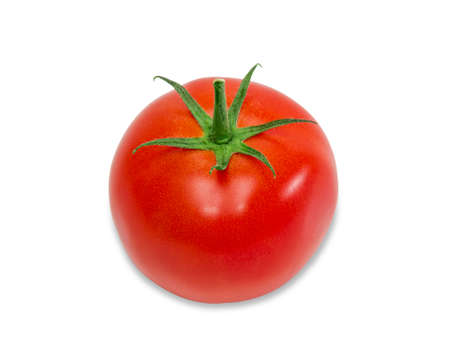 One ripe red tomato with peduncle on a light background. Isolation.