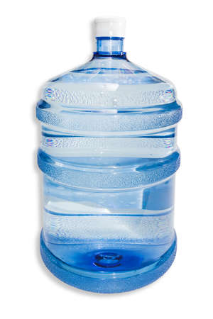 liter: Large plastic transparent carboy, capacity 5 gallons (or 19 liter), for water coolers with drinking water on a light background. Isolation. Stock Photo