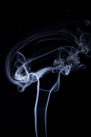 medula espinal: Resumen de humo en la forma del cerebro humano y la médula espinal aislada sobre fondo negro. El humo de la textura