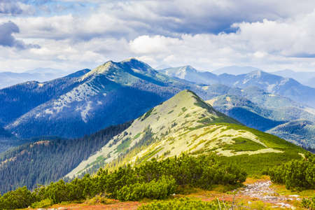 Carpathian landscape with mountain peaks, mountain ranges, forested slopes, placer of stones, mountain pasture and sky with clouds.