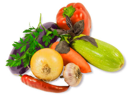 vegetable marrow: Various fresh eggplant, vegetable marrow, carrot, bell pepper, chilly, onion, garlic, basil and parsley on a light background. Isolation. Stock Photo
