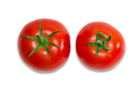 Two ripe red tomatoes with peduncle closeup on a light background. View from the peduncle. Isolation.