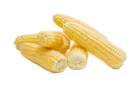 husks: Several ears of young corn without green husks on a light background closeup. Isolation. Stock Photo
