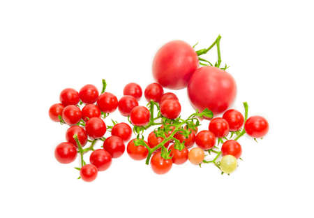 fascicule: Several clusters of ripe red cherry tomato and two conventional tomatoes on a light background. Isolation. Stock Photo