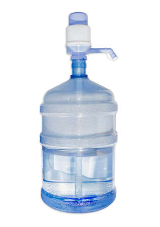 carboy: Large plastic transparent carboy, capacity 5 gallons (19 liter), with drinking water and installed on it a hand pump with dispenser. Isolation on a light background.