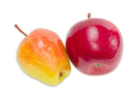 sappy: Ripe yellow pear and red apple on a light background. Isolation.
