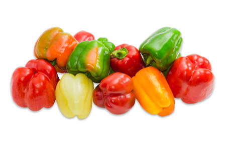 bell peppers: Pile of a fresh bell peppers various shapes and colors on a light background. Isolation.