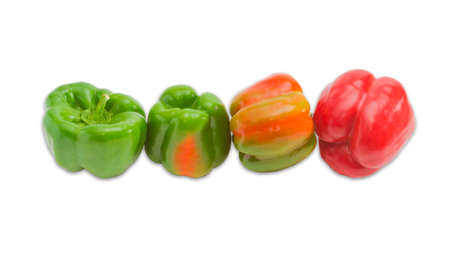 sappy: Green, yellow and red fresh bell peppers on a light background. Isolation.