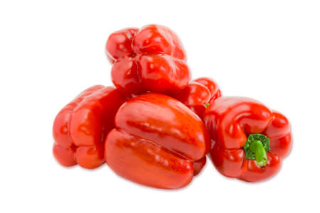 Pile of a fresh red bell peppers on a light background. Isolation. 版權商用圖片