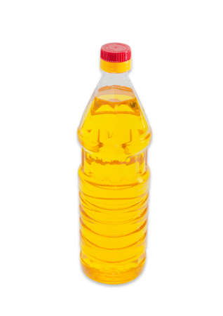 unrefined: Bottle of unrefined sunflower oil on a light background. Isolation. Stock Photo
