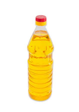 sunflower oil: Bottle of unrefined sunflower oil on a light background. Isolation. Stock Photo