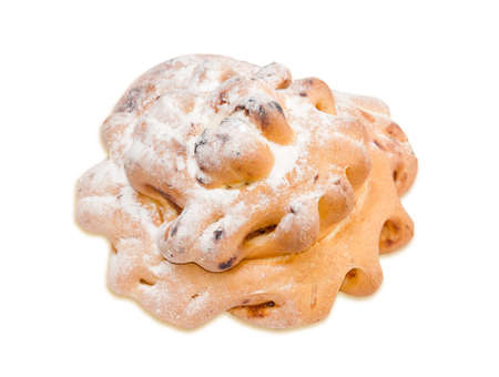 doughy: Bun with jam sprinkle with powdered sugar on a light background. Isolation Stock Photo