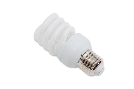 frugal: Compact energy saving fluorescent electric light bulb tubular type with helical tube on a light background. Isolation.