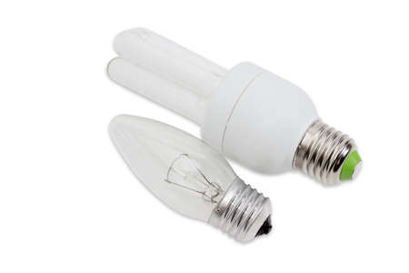 e27: Electric tungsten incandescent light bulb and compact fluorescent lamp tubular type with standard E27 screw bases on a light background. Isolation.