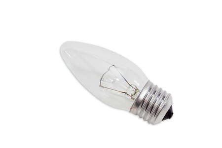 incandescent: Electric tungsten incandescent light bulb with standard E27 screw base on a light background. Isolation.