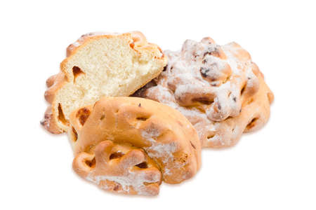 doughy: Two buns with jam sprinkle with powdered sugar, one of which is cut in half on a light background. Isolation Stock Photo
