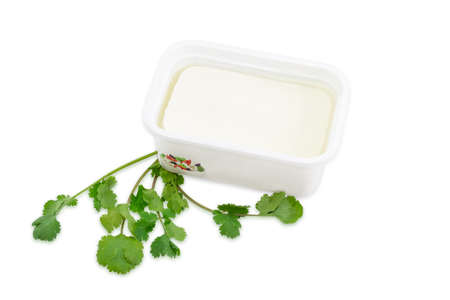 brine: Rectangular container of feta cheese in a brine and a branch of a coriander on a light background