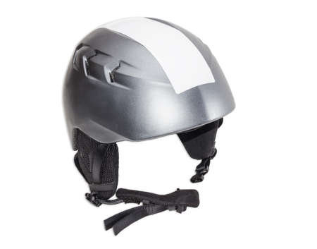 safeness: Gray protective ski helmet on a light background Stock Photo