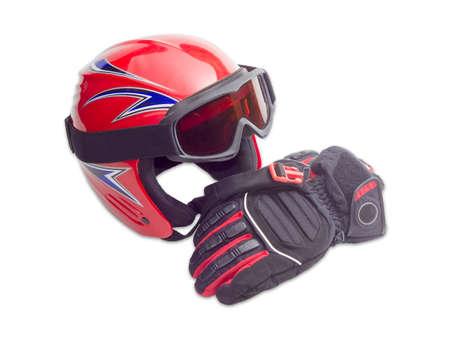 ski goggles: Red protective ski helmet, ski goggles and black and red ski glove on a light background Stock Photo