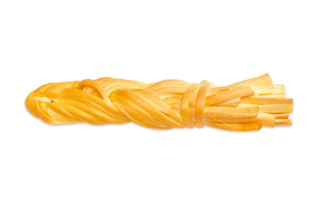 husbandry: Smoked chechil cheese in the form of strings, rolled up in a figure of braided shaped ropes on a light background