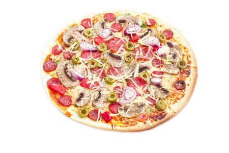 button mushrooms: Cooked round pizza with various sausages, button mushrooms and olives on a light background