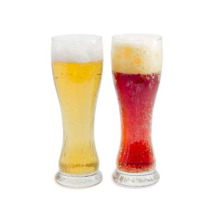 brasserie: One beer glass lager beer and one beer glass dark beer with foam on a light background Stock Photo
