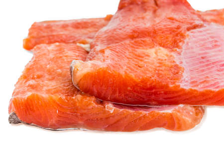rainbow trout: Several pieces of fresh uncooked fillet of rainbow trout closeup