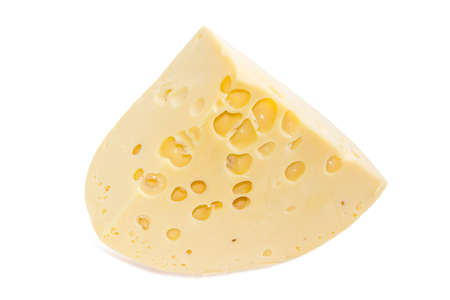 swiss cheese: Piece of the medium-hard Swiss cheese with cheeses eyes on a light background