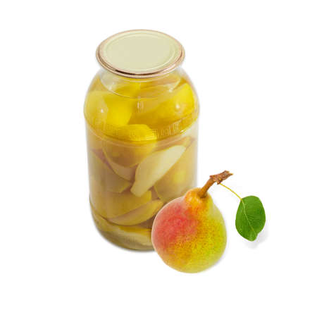 sappy: Fresh red and yellow pear Bartlett with leaf and canned pears in glass jar on a light background