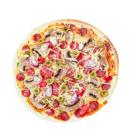 button mushroom: Cooked round pizza with various sausages, button mushrooms and olives on a light background