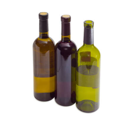 corked: Two corked bottles of white and red wine and uncorked a bottle of white wine on a light background