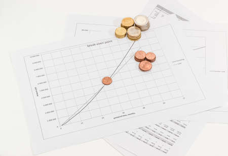 Euro coins different denominations on the line chart of income and cost of sales Vs time and data tables
