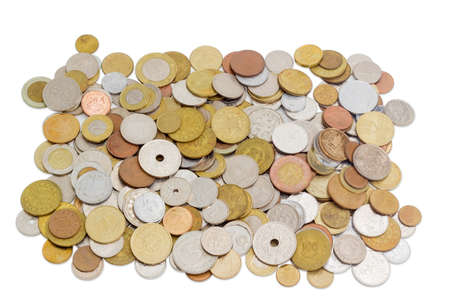 bimetallic: Coins from various countries in circulation at different times on a light background