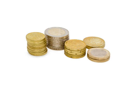 2 50: Several stacked euro coins from 10 to 50 cents, and in denominations of 1 and 2 euro on a light background