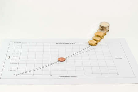 Euro coins different denominations on the line chart of income and cost of sales Vs time on a light background