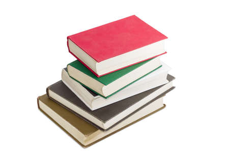 classbook: Stack of several books different formats and cover design on a light background Stock Photo
