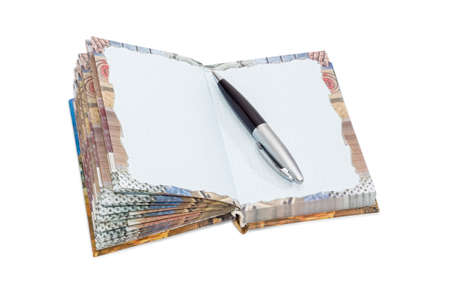 hard cover: Pen on an open paper notebook of small format with hard cover and sheets of squared paper and decorations on a light background Stock Photo