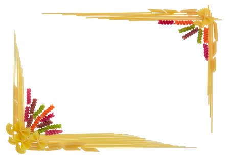 perimeter: Uncooked dried long pasta two varieties, colored spiral pasta and pasta other shape, laid out on the perimeter as a frame with empty center part on a light background Stock Photo