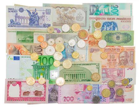 earlier: Banknotes and coins of different countries that are in circulation now, and those that were earlier in circulation