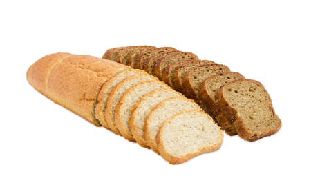 long loaf: One partly sliced long loaf of wheat bread with bran and sliced brown bread with whole grain on a light background Stock Photo
