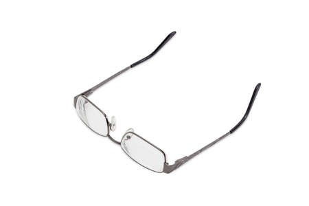 earpiece: Modern pair of womens eyeglasses with single vision lenses and metal frame on a light background