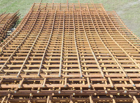 reinforcing: Stack of grilles of reinforcing steel made of welded bars for the manufacture of concrete construction