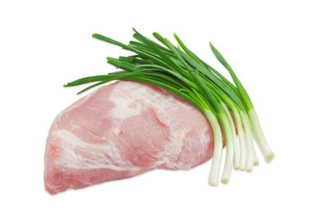green onion: Big piece of fresh uncooked pork from the cut of hind leg and several green onion on light background Stock Photo